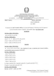 AVVISO - ORARI SCOLASTICI