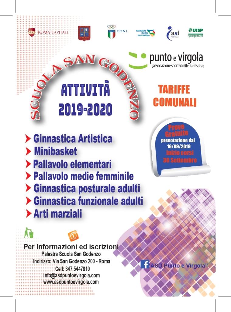 Volantino attività sportive Palestra San Godenzo 2019-2020