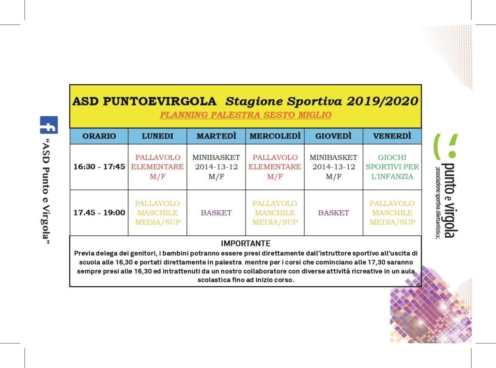 Volantino attività sportive Palestra Sesto Miglio 2019-2020a